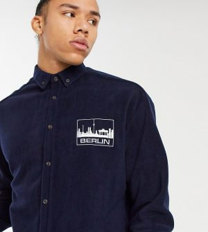 ASOS DESIGN Tall 90s oversized navy fleece shirt with chest embroidery