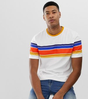 ASOS DESIGN Tall organic cotton relaxed t-shirt with thick retro stripe and roll sleeve-White