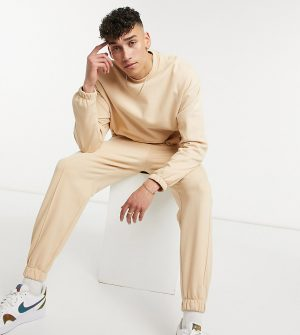 ASOS DESIGN Tall oversized sweatshirt in beige-Neutral