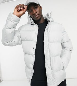 ASOS DESIGN Tall sustainable puffer jacket with detachable hood in gray-Grey