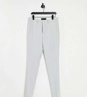 ASOS DESIGN Tall wedding super skinny suit pants in ice gray micro texture-Grey