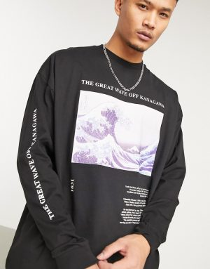 ASOS DESIGN The Great Wave Of Kanagawa relaxed heavyweight long sleeve t-shirt in black
