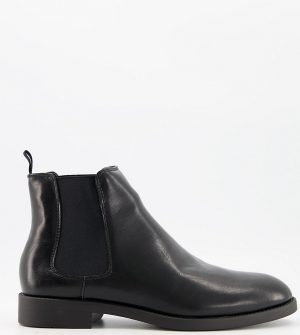 ASOS DESIGN Wide Fit chelsea boots in black faux leather with black sole