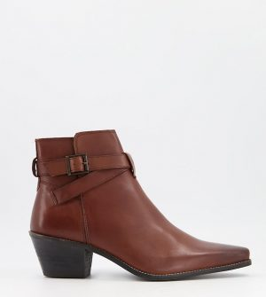 ASOS DESIGN Wide Fit cuban heel western chelsea boots in brown leather with strap