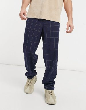 ASOS DESIGN baggy fit pants in navy window pane check