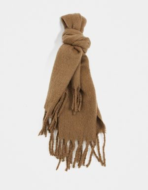 ASOS DESIGN blanket scarf in camel with textured detail-Brown