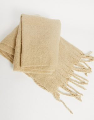 ASOS DESIGN blanket scarf in cream with textured detail-White
