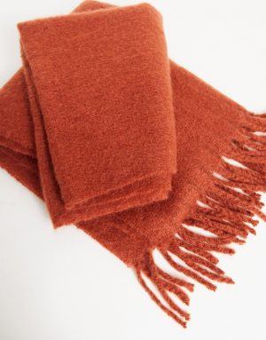 ASOS DESIGN blanket scarf in red with textured detail