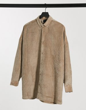 ASOS DESIGN extreme oversized cord shirt in stone-Neutral