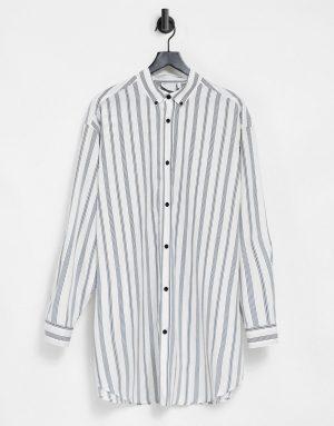 ASOS DESIGN extreme oversized poplin print shirt in retro stripe-White