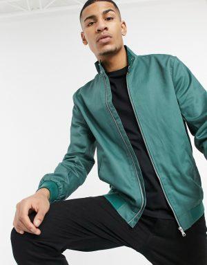 ASOS DESIGN harrington jacket with funnel neck in dark green