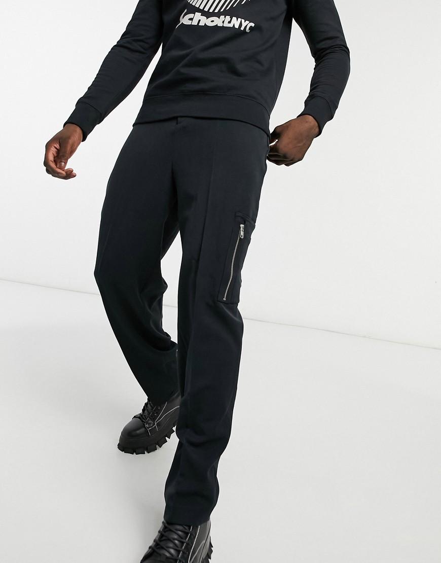 ASOS DESIGN high waist slim smart pant with cargo pocket-Brown