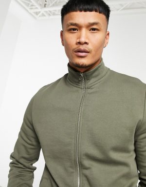 ASOS DESIGN jersey track jacket in khaki with funnel neck and chunky zip-Green