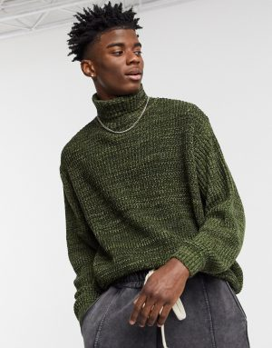 ASOS DESIGN knit oversized rib turtleneck sweater in khaki twist-Green