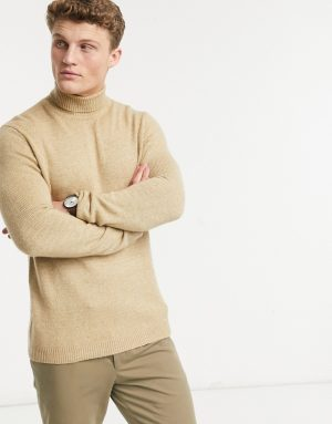 ASOS DESIGN knit roll neck sweater in soft camel yarn-Brown
