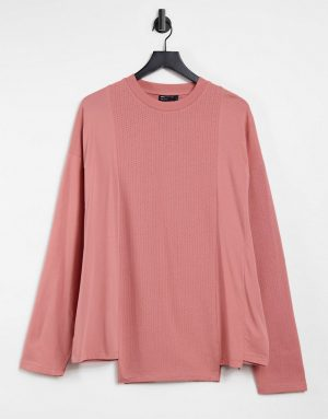 ASOS DESIGN long sleeve oversized contrast t-shirt in blush pink-Red