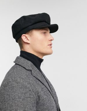 ASOS DESIGN mariner newsboy hat in black melton