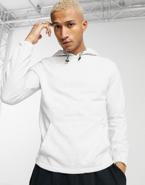 ASOS DESIGN organic hoodie with toggle detail & fixed hem in white