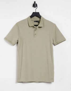 ASOS DESIGN organic muscle fit polo in beige-Neutral