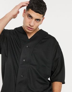 ASOS DESIGN oversized baseball t-shirt with half sleeve in black mesh