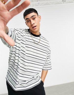 ASOS DESIGN oversized black & white stripe t-shirt