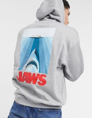 ASOS DESIGN oversized hoodie in gray heather with Jaws back print