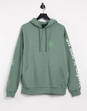 ASOS DESIGN oversized hoodie with multi placement mystic prints-Green
