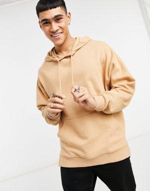 ASOS DESIGN oversized hoodie with split hem in beige-Neutral
