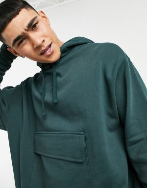ASOS DESIGN oversized hoodie with tie hem and pocket in green