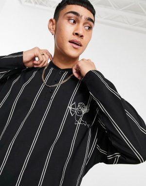 ASOS DESIGN oversized long sleeve stripe T-shirt with bomber neck in black & white-Multi