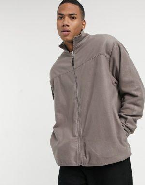 ASOS DESIGN oversized polar fleece track jacket in light brown