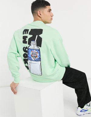 ASOS DESIGN oversized sweatshirt with New York back print and deep ribs-Green
