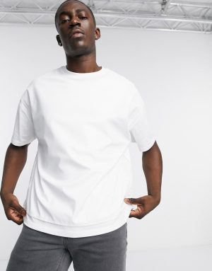 ASOS DESIGN oversized t-shirt in faux-leather in white