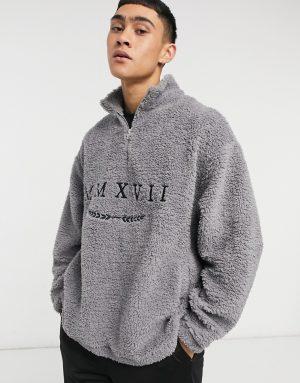 ASOS DESIGN oversized teddy sweatshirt with half zip & Roman numerals embroidery-Grey
