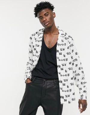 ASOS DESIGN regular fit print shirt in white