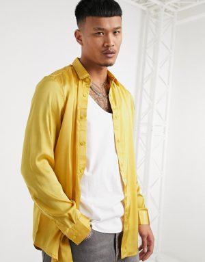 ASOS DESIGN regular fit satin shirt in mustard-Yellow