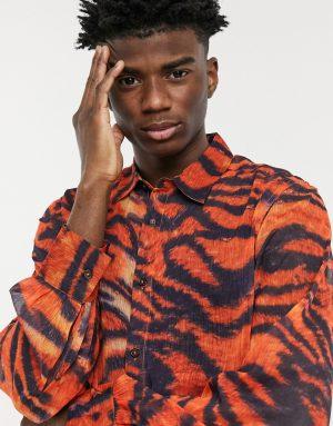 ASOS DESIGN regular fit shirt with blouson sleeves in sheer animal print-Red
