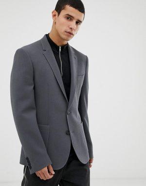 ASOS DESIGN skinny blazer in gray waffle-Grey