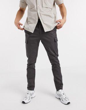 ASOS DESIGN skinny cargo pants in washed black