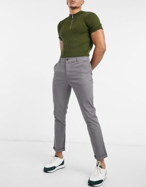 ASOS DESIGN skinny chinos in gray-Grey