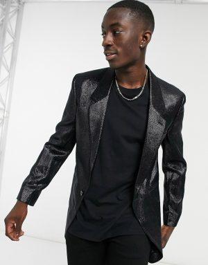ASOS DESIGN skinny longline blazer in wet look black