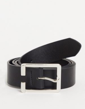 ASOS DESIGN slim belt in black faux leather with silver buckle detail