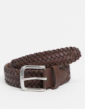 ASOS DESIGN slim braided belt in dark brown faux leather