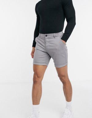 ASOS DESIGN slim chino shorts in light gray-Grey