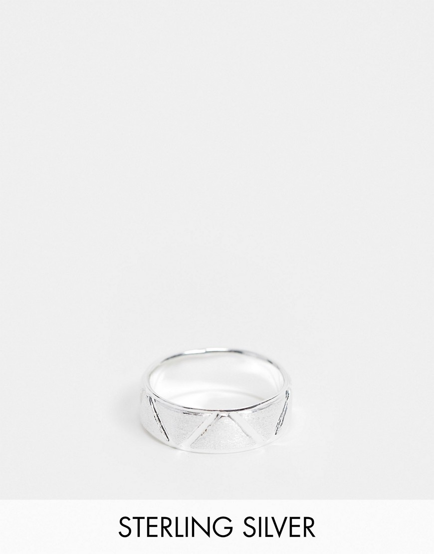 ASOS DESIGN sterling silver band ring with brushed and shiny design in silver