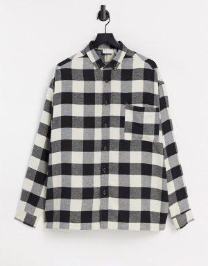 ASOS DESIGN super oversized monochrome flannel check shirt-Black