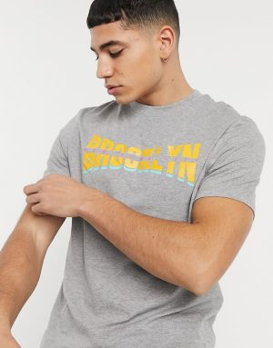 ASOS DESIGN t-shirt in gray heather with collegiate city print-Grey