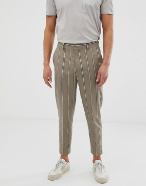 ASOS DESIGN tapered crop smart pants in beige with pin stripe-Gray