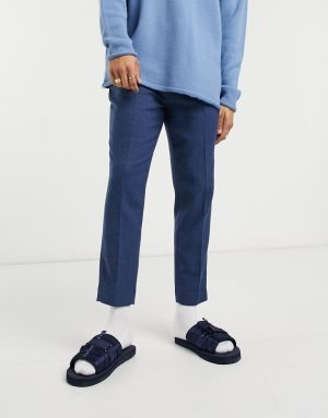 ASOS DESIGN tapered smart pants in navy herringbone