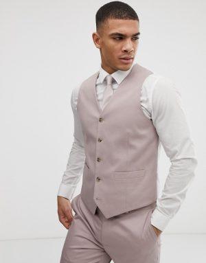 ASOS DESIGN wedding skinny stretch cotton suit vest in mink-Neutral